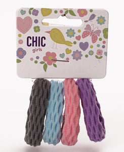 4 Pack Girls Hair Ties - Multi