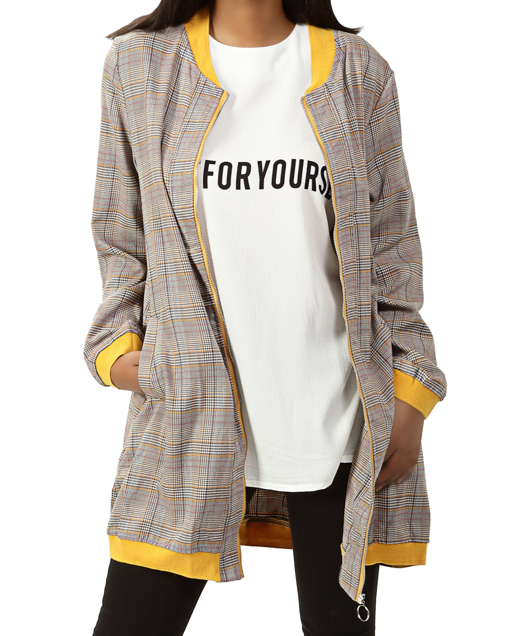 Check Lightweight Jacket Set - Mustard