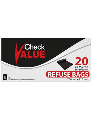 Checkvalue Refuse Bags 20s - Black