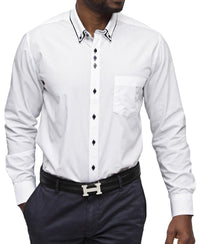 Double Collar White Shirt - Navy