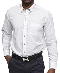 Double Collar White Shirt - Grey
