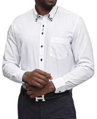 Double Collar White Shirt - Black