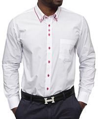 Double Collar White Shirt - Pink