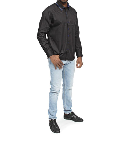 Double Collar Black Shirt - Blue