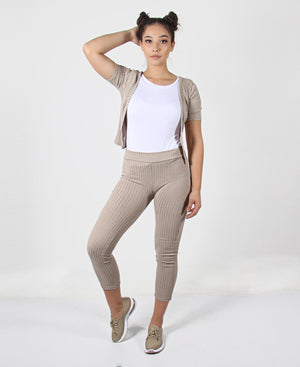 2 Piece Leggings Set - Beige
