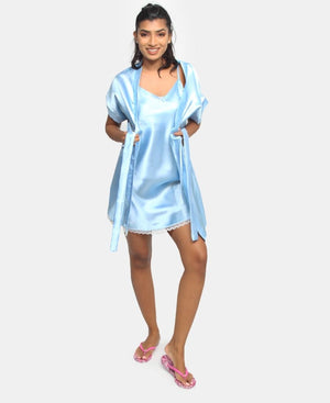 Satin Chemise & Gown Set With Lace - Light Blue