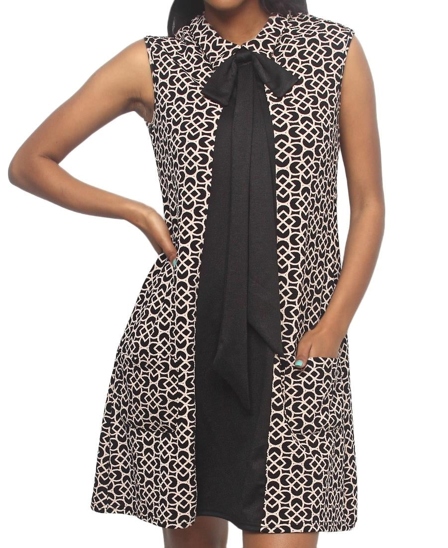 Ponti Bow Dress - Brown