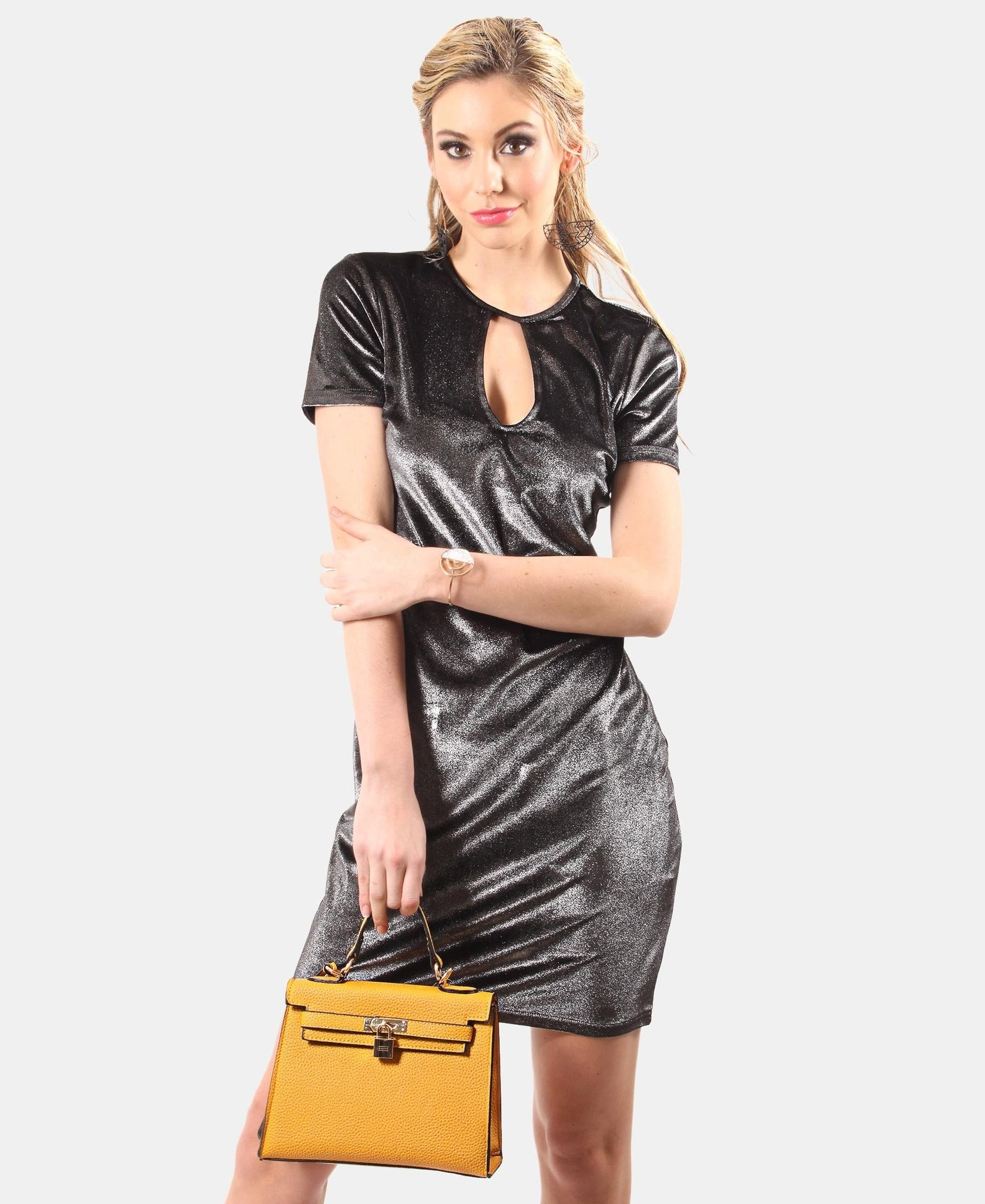 Metallic T-Shirt Dress - Silver