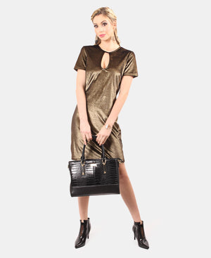 Metallic T-Shirt Dress - Gold