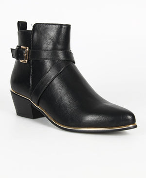Buckle Ankle Boots - Black