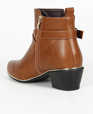 Buckle Ankle Boots - Tan
