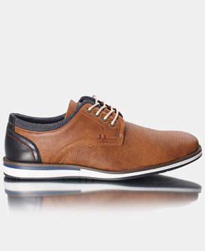 Men's Pin Punch Lace Up - Camel
