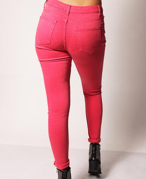 Super Skinny Stretch Jeans - Red