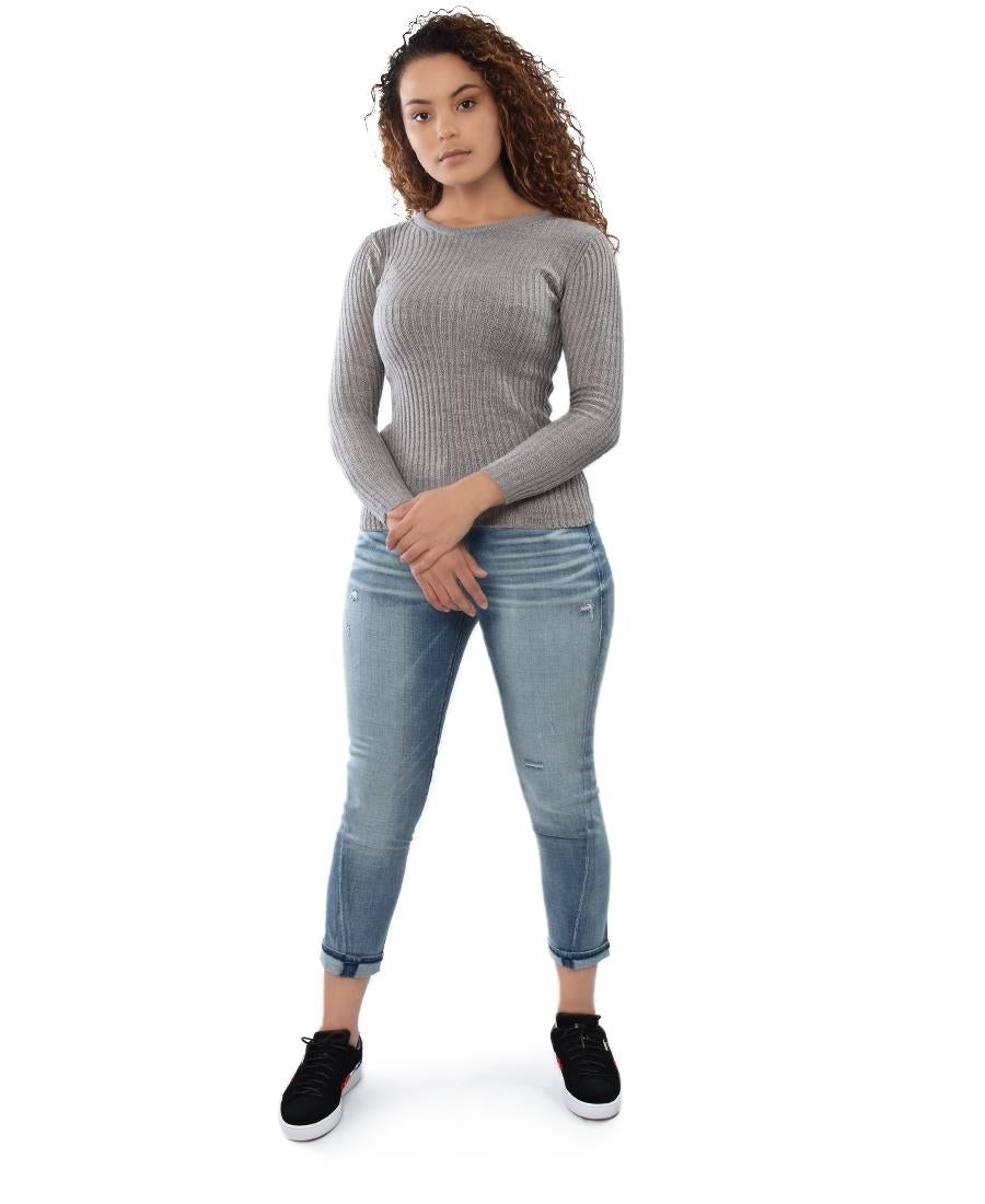 Round Neck Sweater - Grey