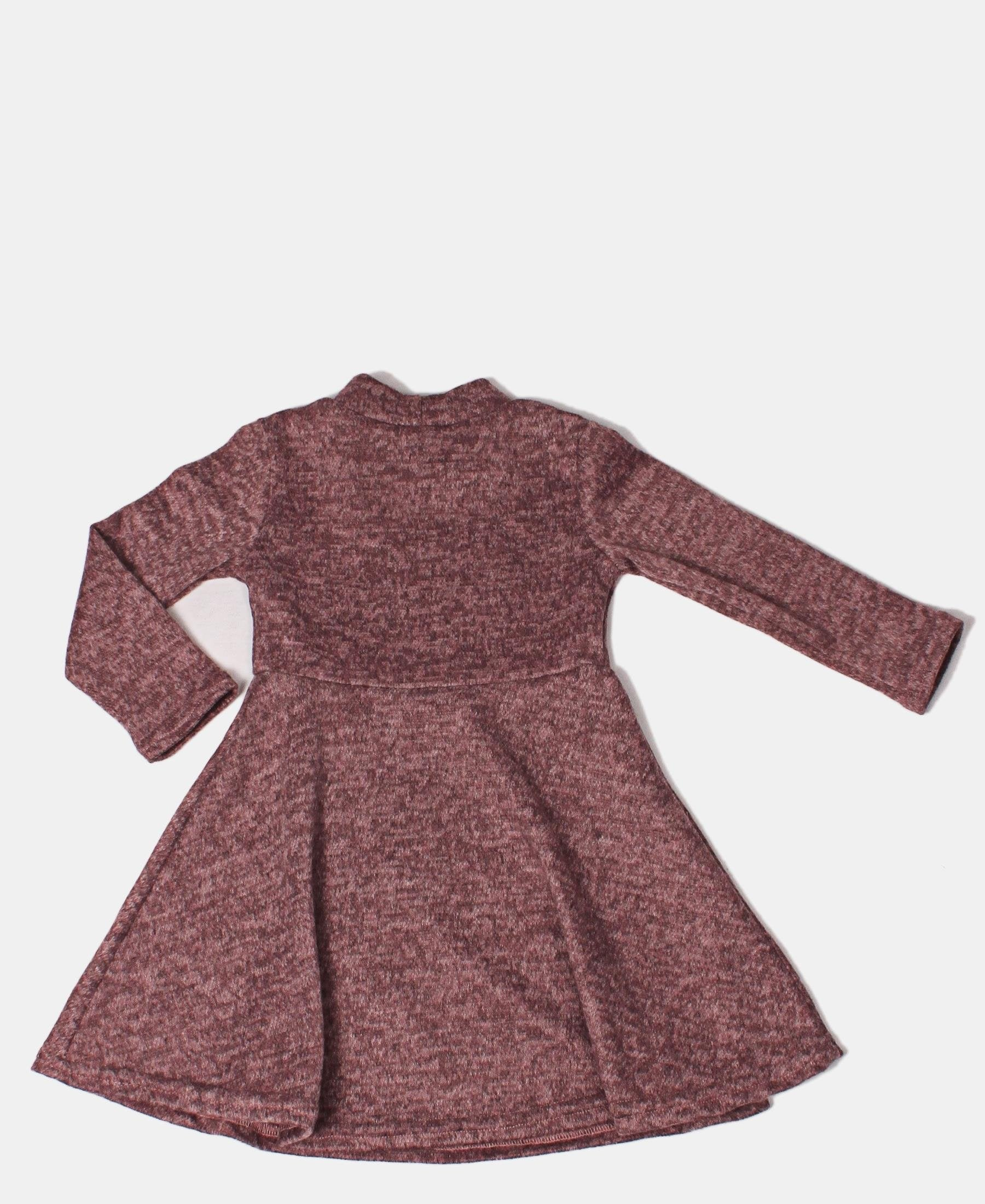 Girls Jersey Knit Long Sleeve Dress - Purple