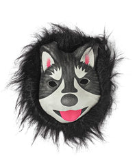 Animal Mask With Fur - Black-White