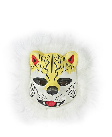 Animal Mask With Fur - White-Yellow
