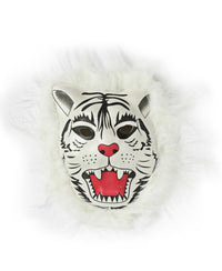 Animal Mask With Fur - White-Red