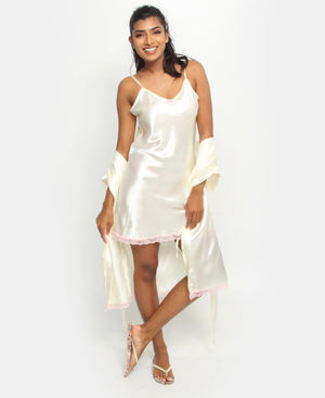 Satin Chemise & Gown Set With Lace - Cream