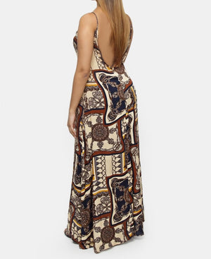 Printed Viscose Strappy Dress - Brown