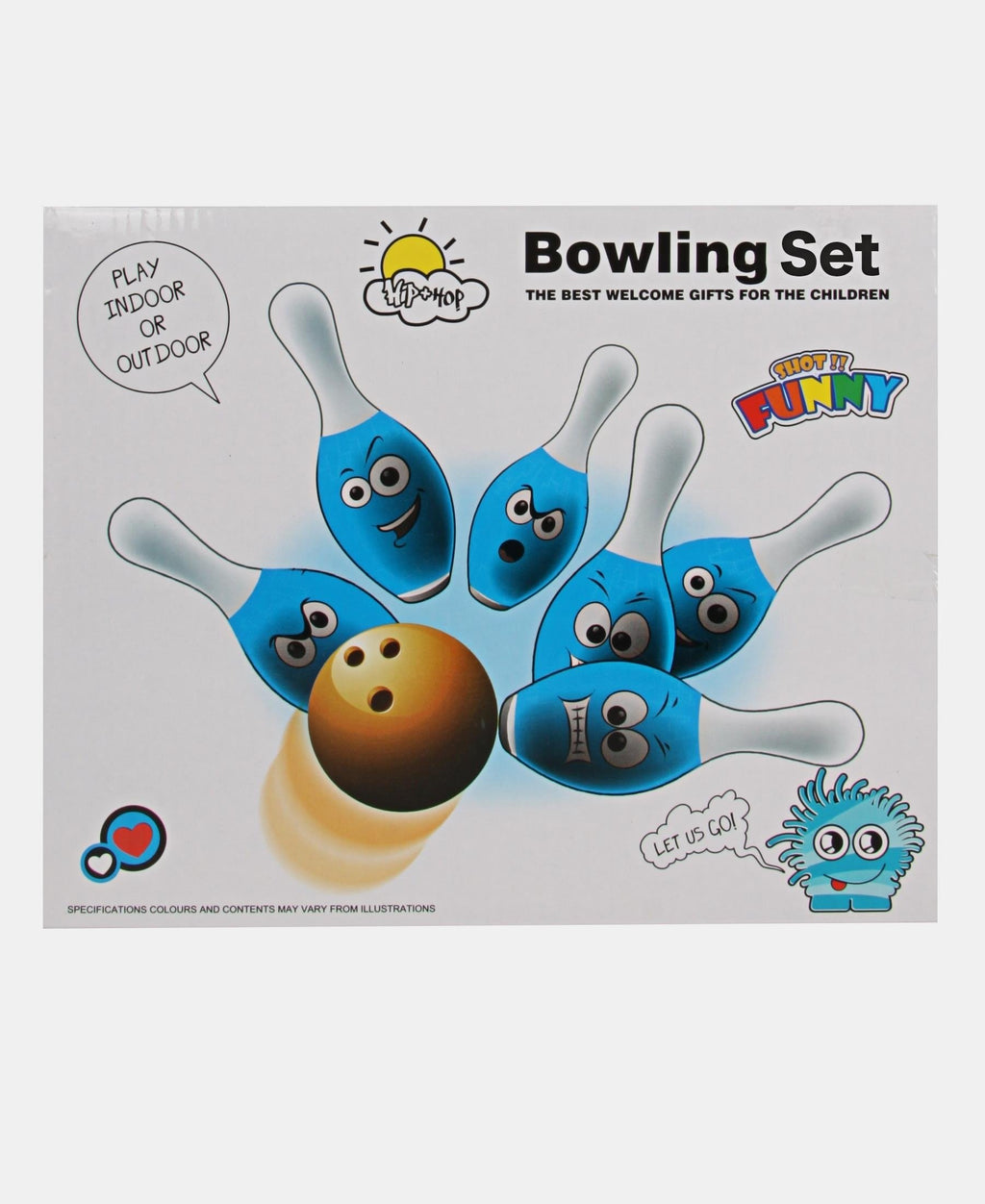 Funny Face Bowling Set - Blue