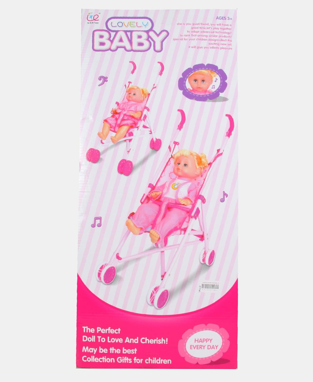 Musical Doll With Iron Stroller - Pink