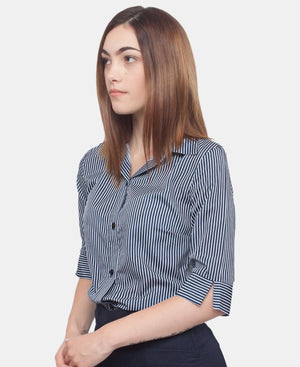 3/4 Sleeve Blouse - Navy-White