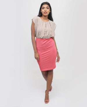 Knit Chiffon Dress - Coral