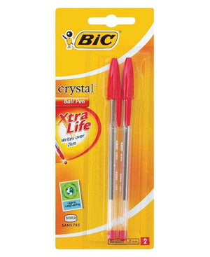 Bic 2 Pack Cristal Ball Point Pen - Red
