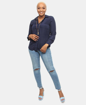 Long Sleeve Blouse - Navy