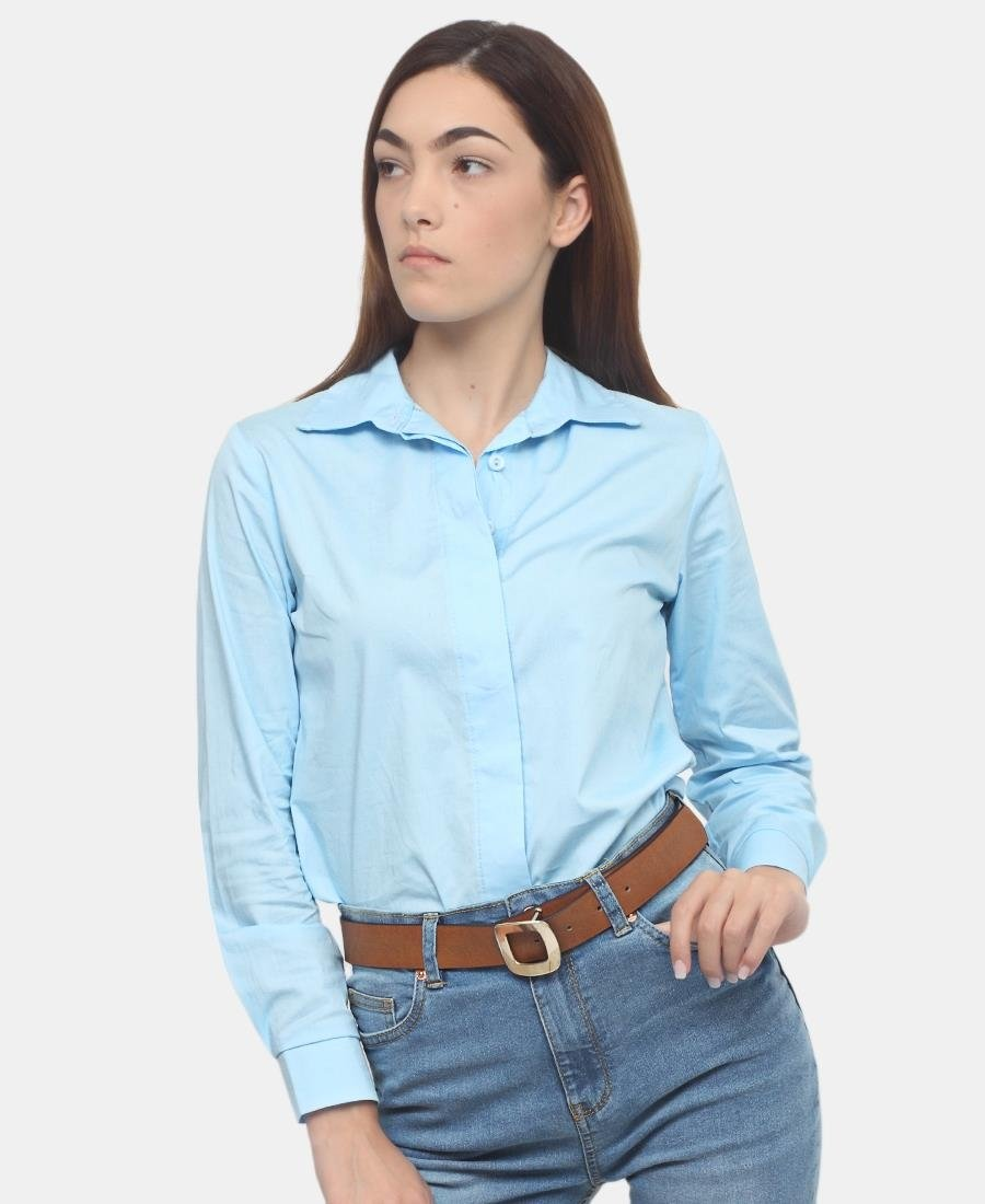 Long Sleeve Blouse - Blue