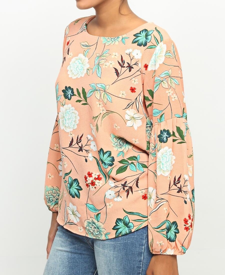 Bubble Sleeve Blouse - Coral