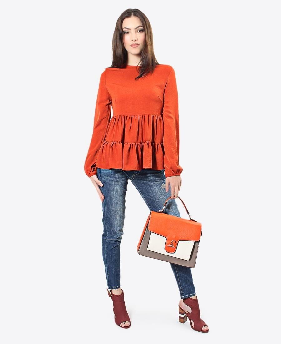 Tiered Blouse - Orange