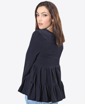 Tiered Blouse - Navy