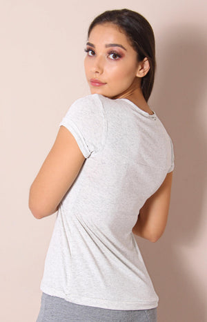 Ladies' Waist Tie Tee - Off White - planet54.com