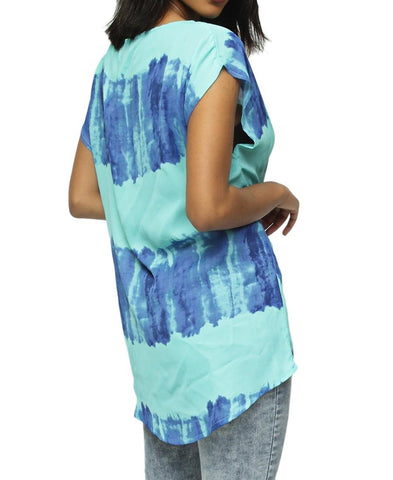 Printed Shell Blouse - Blue