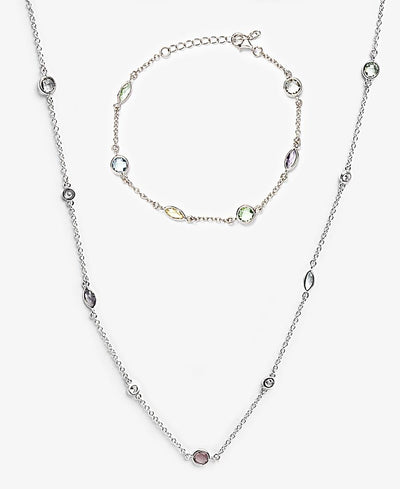 Sterling Silver Candy Girl Necklace and Bracelet - Silver