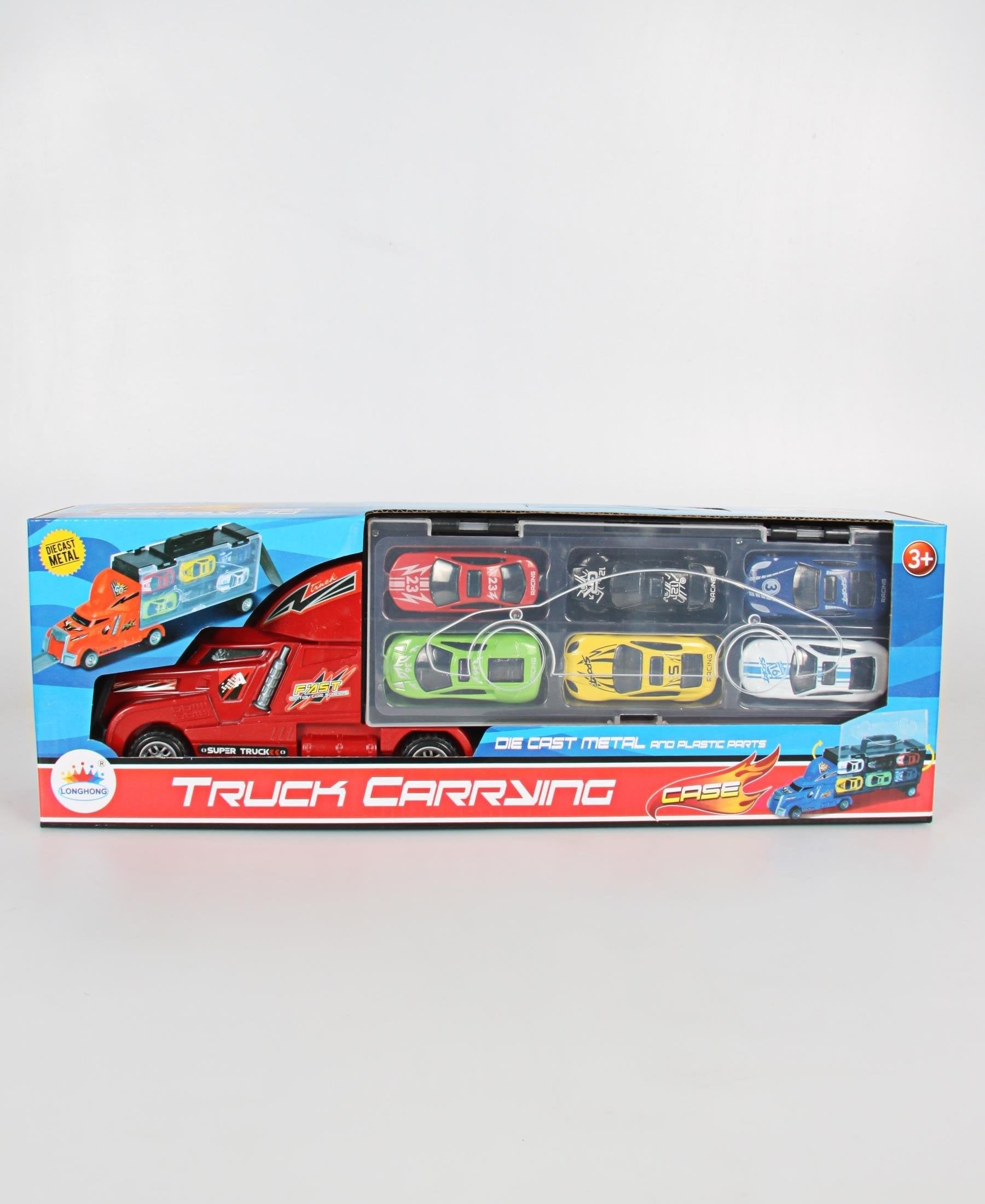 Truck With Container & 6 Die Cast Cars - Multi