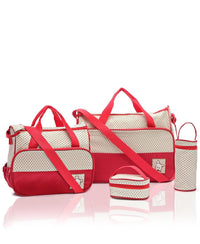 5 Piece Diaper Bag Set - Red