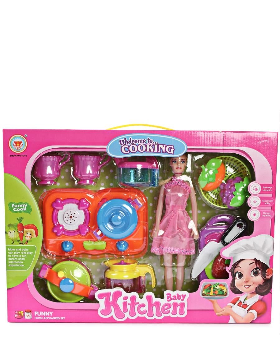 Kids Kitchen Set With Doll - Pink