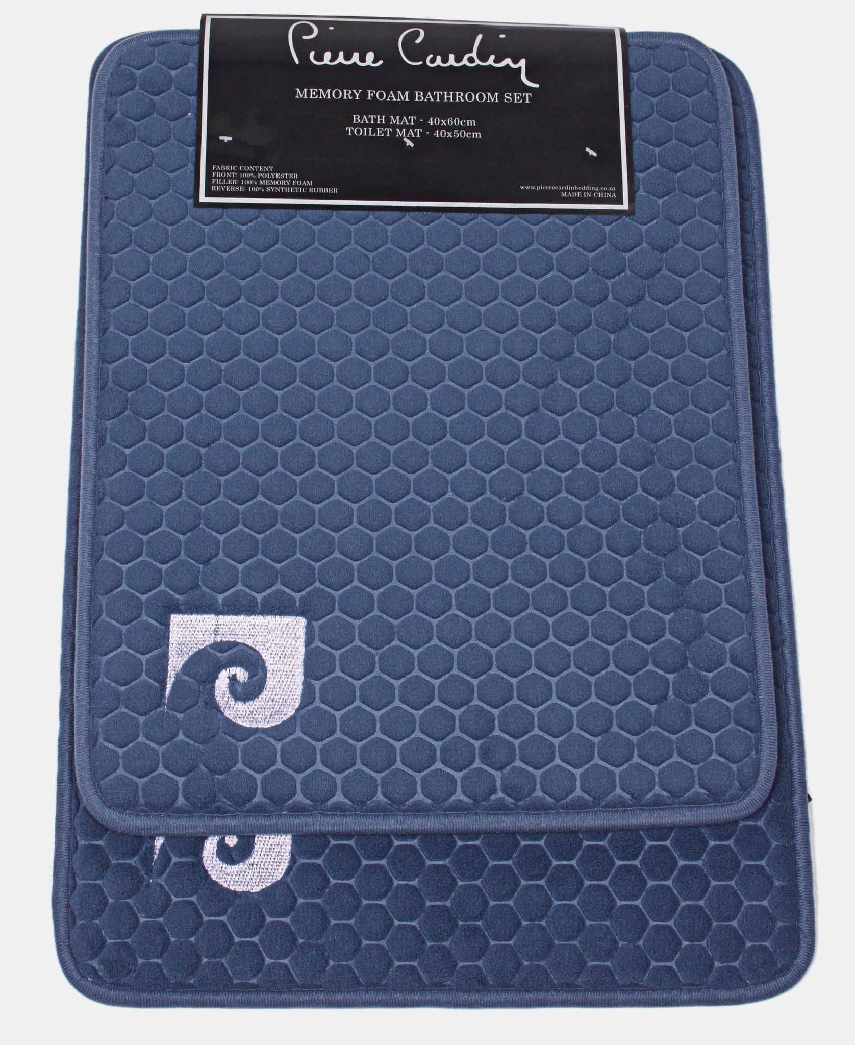 2Pk Memory Foam Honeycomb Design Mats - Navy