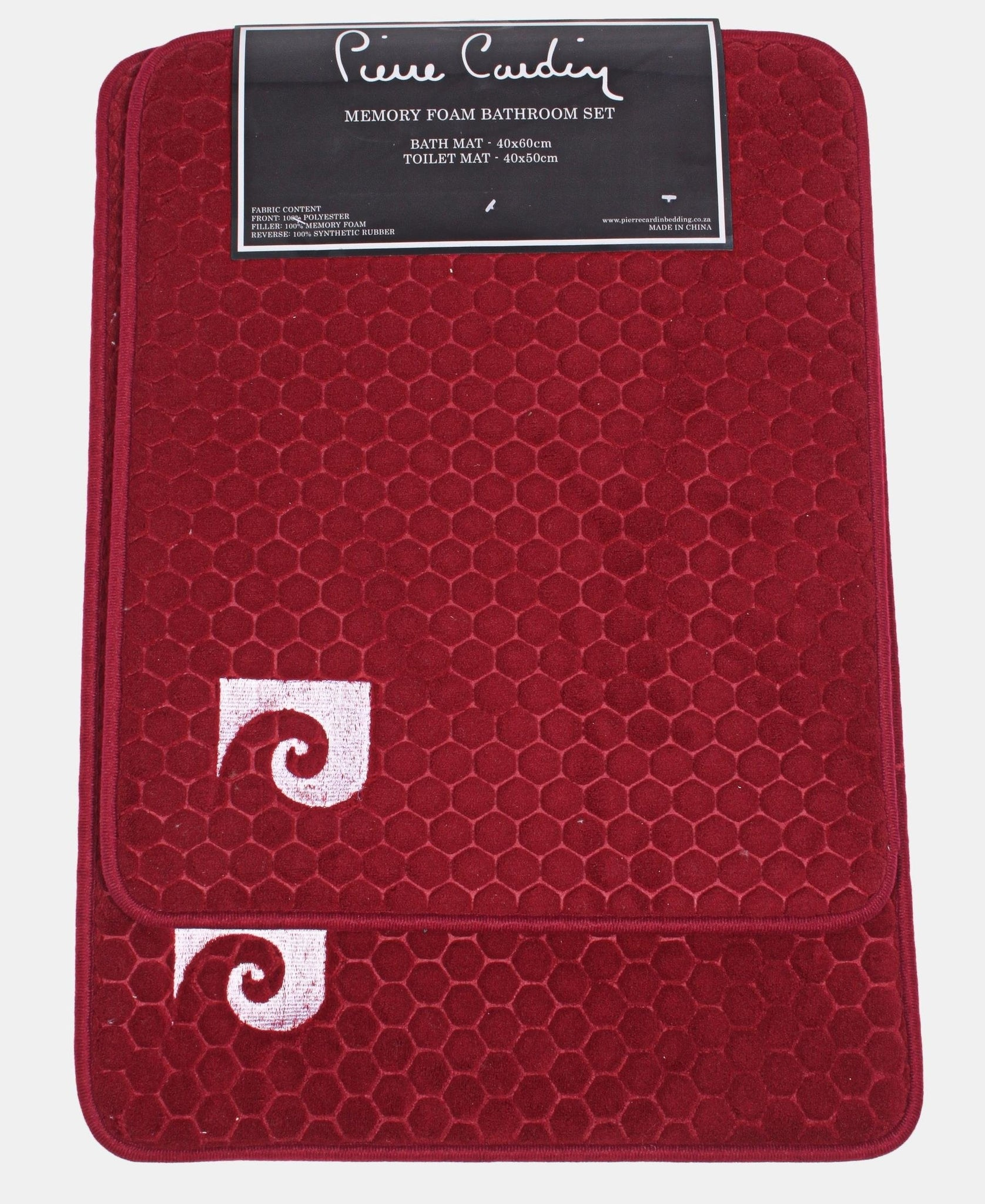 2Pk Memory Foam Honeycomb Design Mats - Burgundy