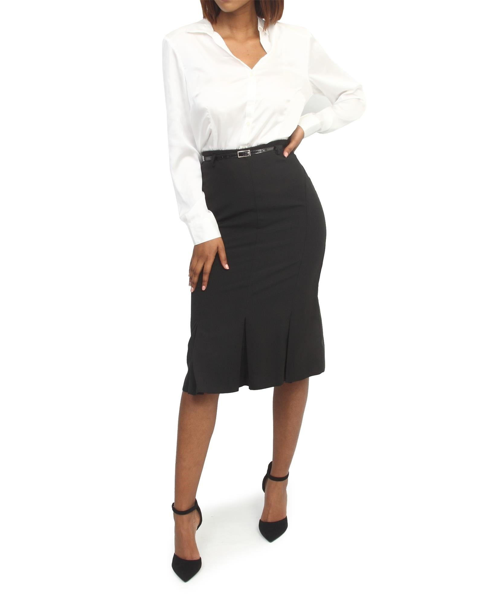 Flared Pencil Skirt - Black