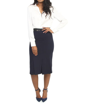 Flared Pencil Skirt - Navy