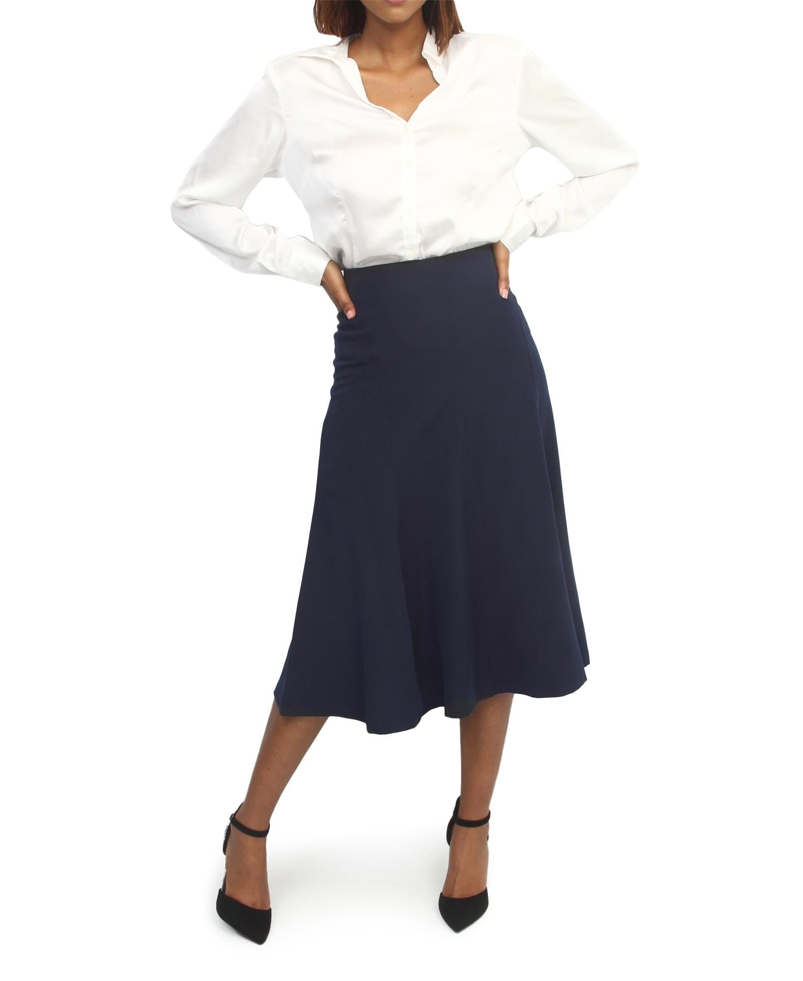 Flared Formal Skirt - Navy