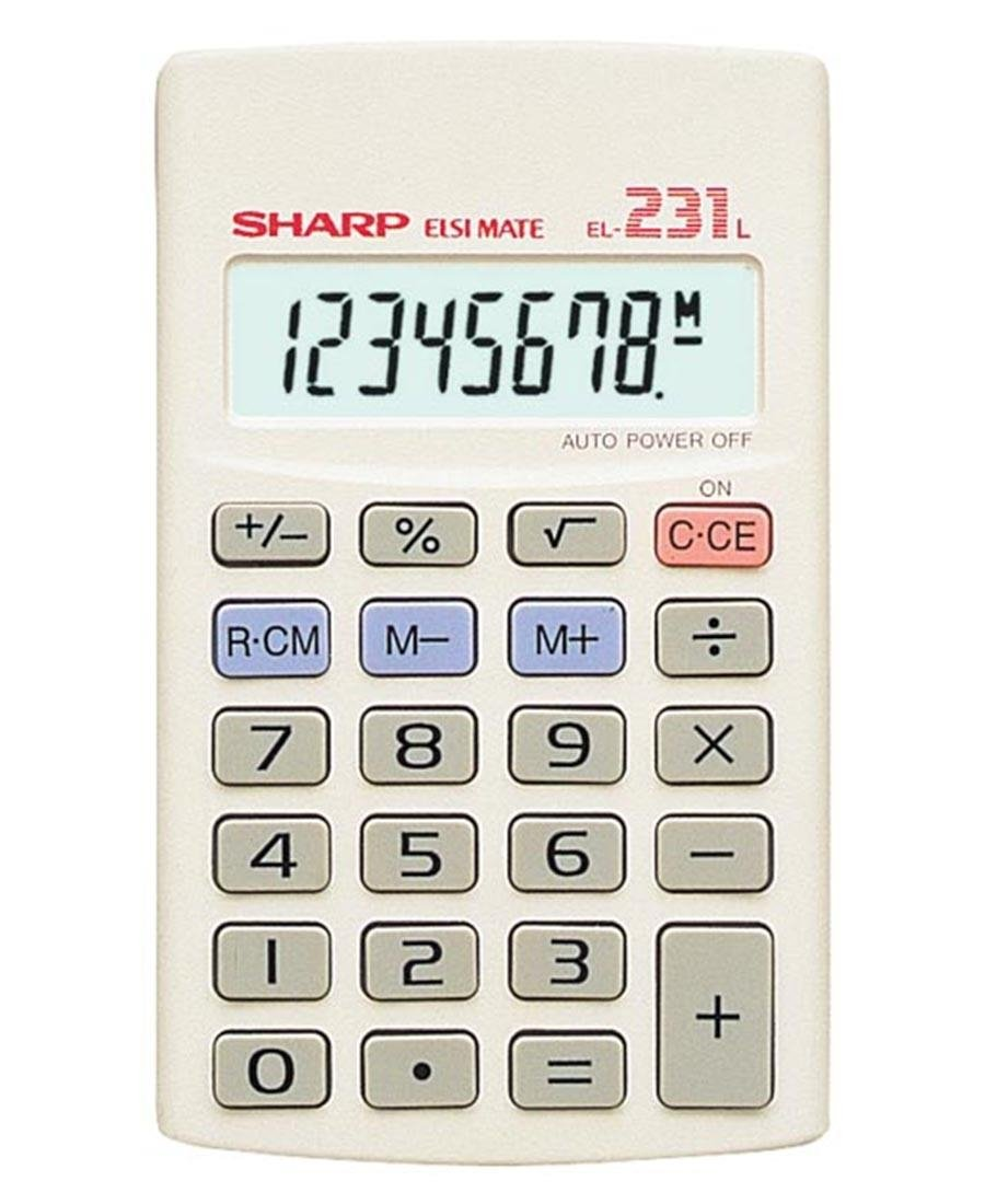Sharp 8 Digit Basic Calculator - White