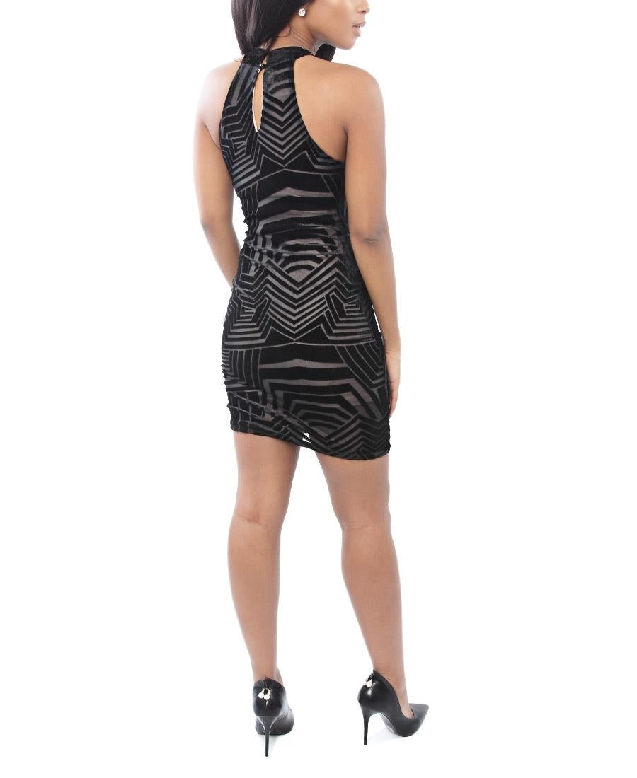 Piper Aztec Bodcon Dress - Black