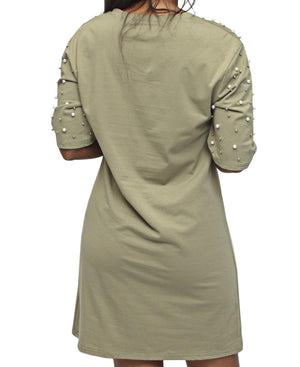 Pearl Shift Dress - Olive