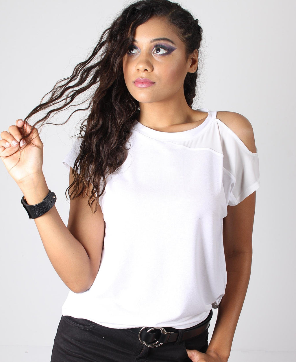 Crew Neck Cold Shoulder Tee - White
