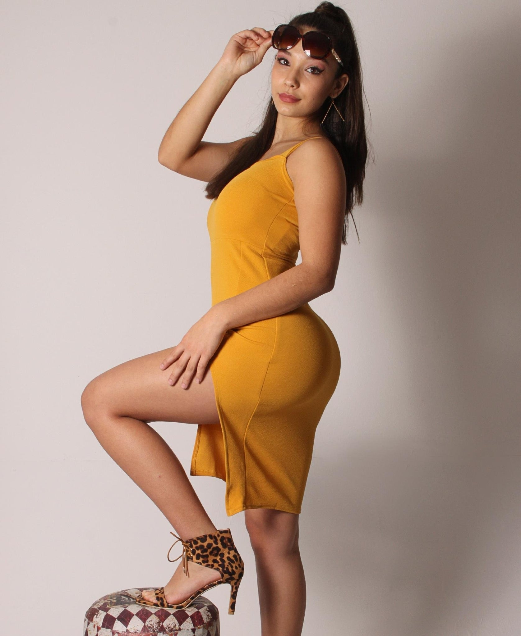 Strappy Side Slit Shift Dress - Mustard